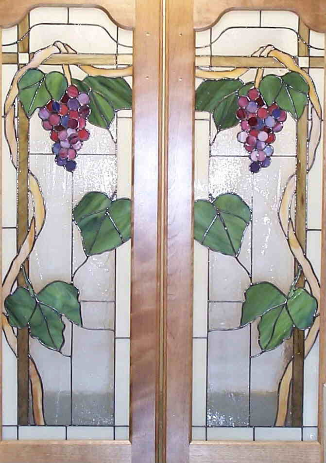 Cabinet doors with grape motif
