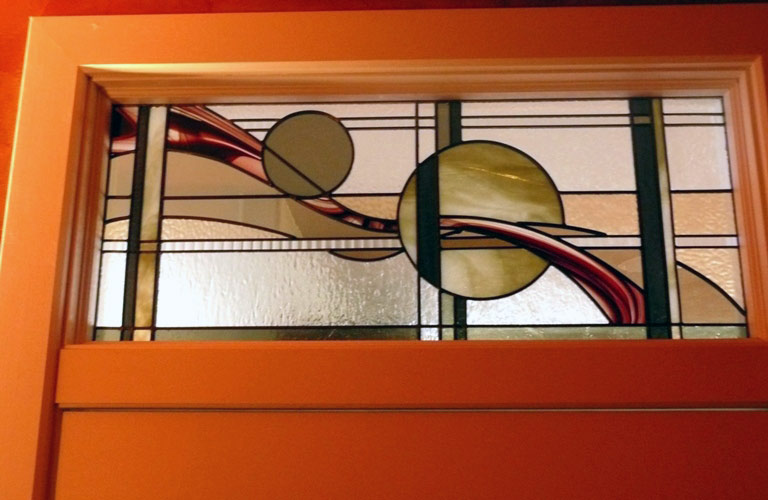 Vinery Glass stained glass abstract transom window