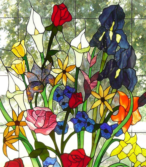Vinery Glass stained glass flower window