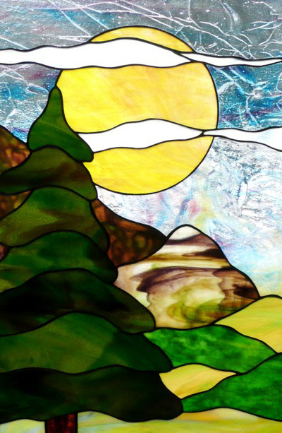 Vinery Glass stained glass landscape scene